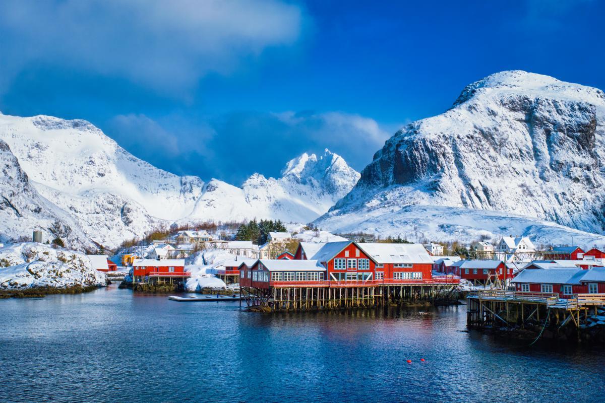 Village sur les îles Lofoten, Norvège